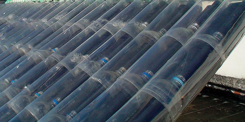 calentador casero con botellas
